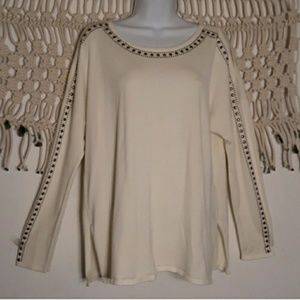 Westport 1962 ivory studded split sleeve sweater